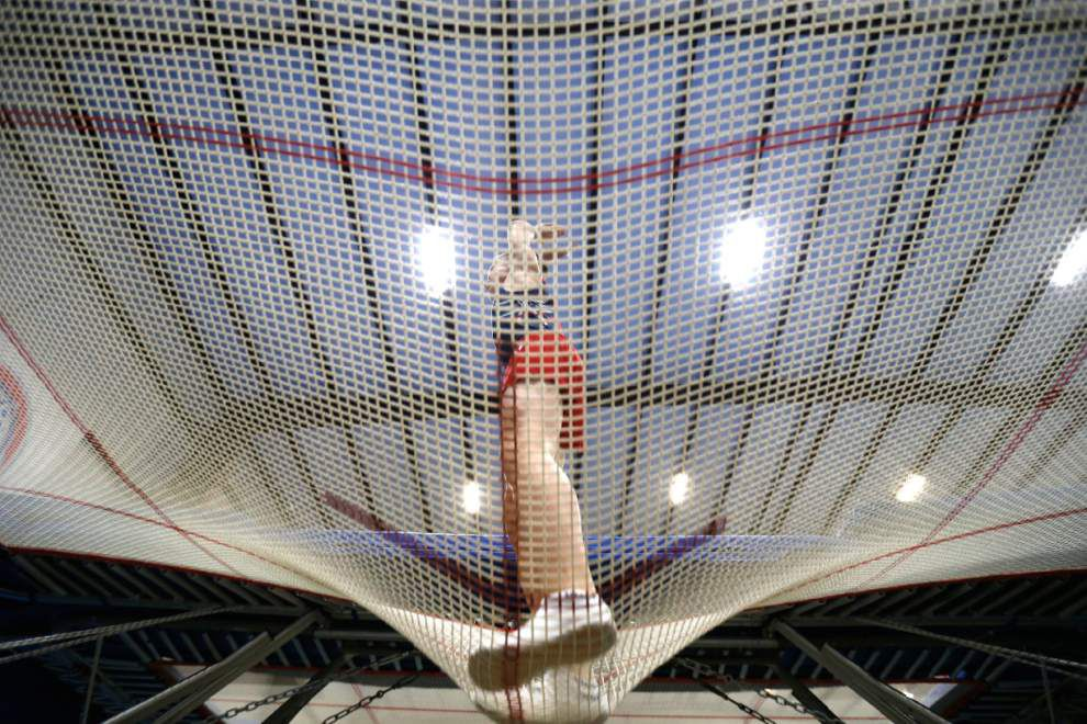 Video: Olympic hopeful trampolinists soar like superheroes -- with flips, twists and 'triffis' -- at Lafayette gym _lowres