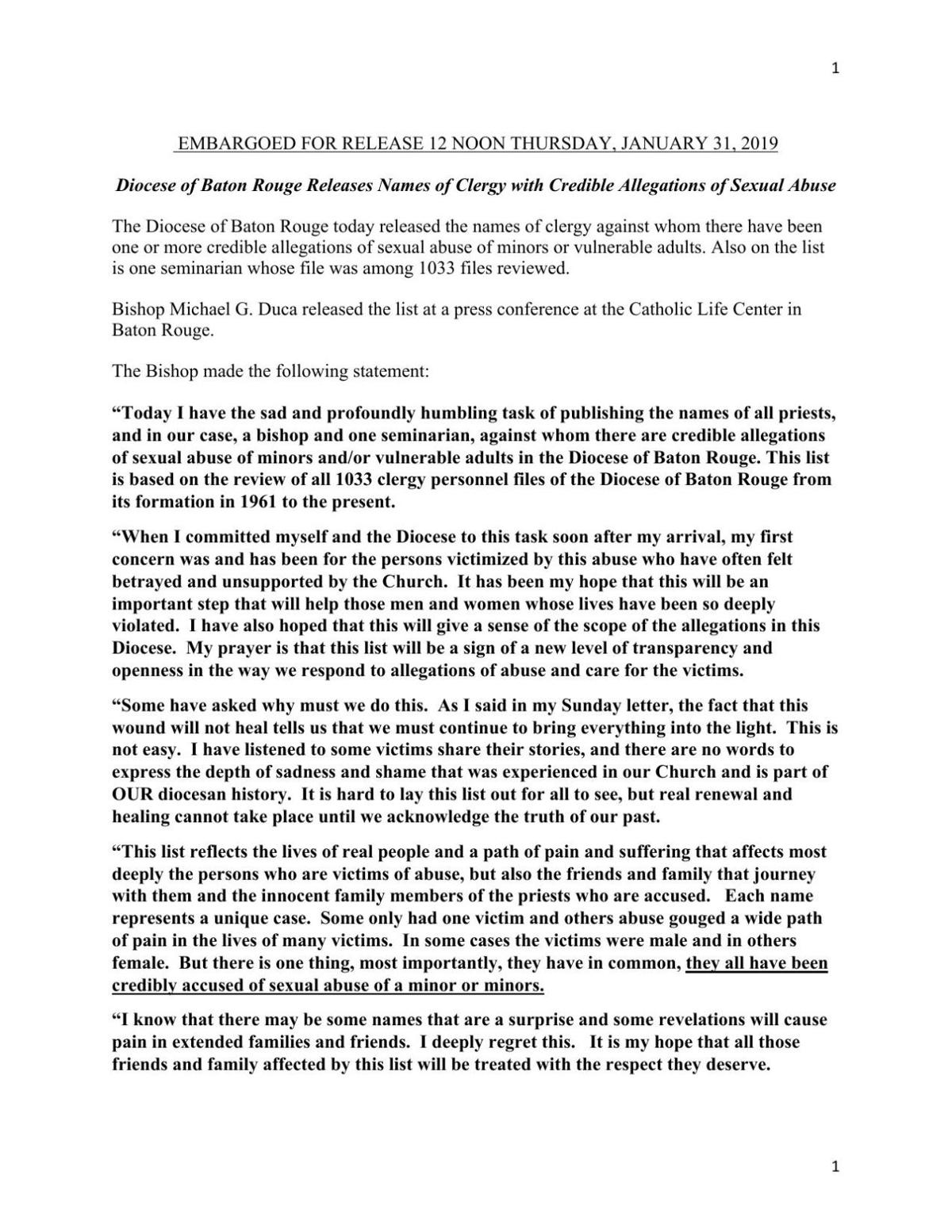 Diocese of Baton Rouge press release