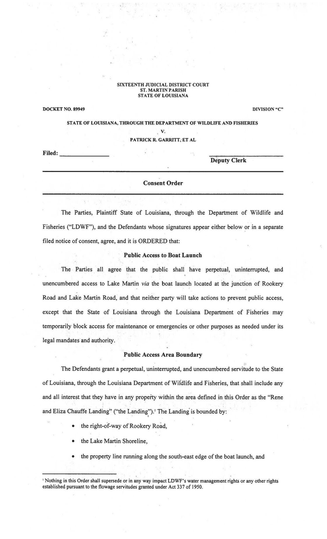 Lake Martin Consent Order
