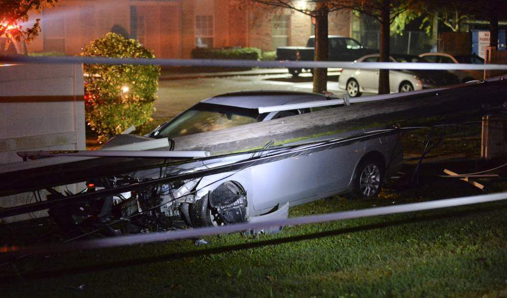 Car wreck causes power outages in LSU area _lowres