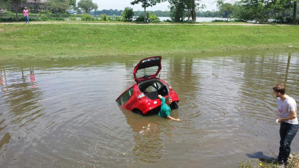 Man drives car into canal near LSU's campus, escapes without injury -- but not without a ticket _lowres