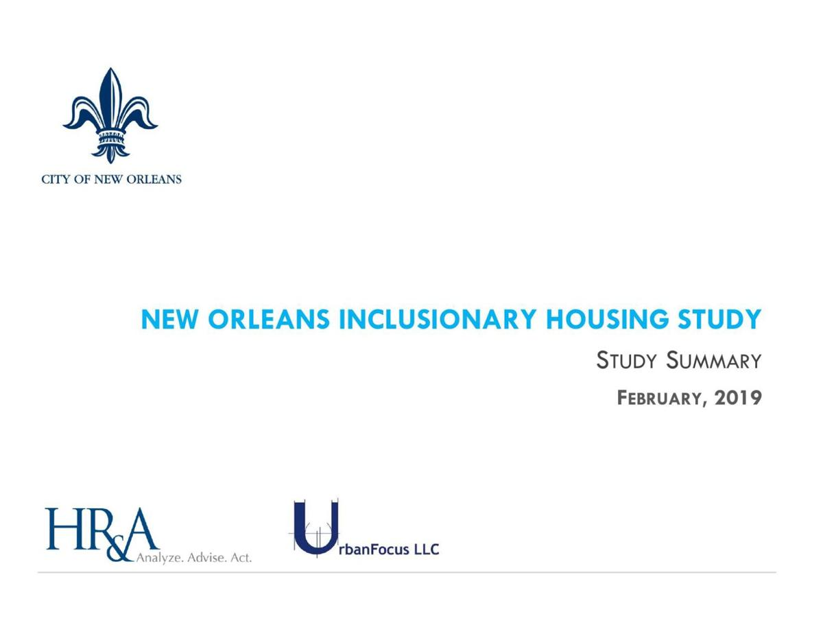 New Orleans inclusionary zoning feasibility study