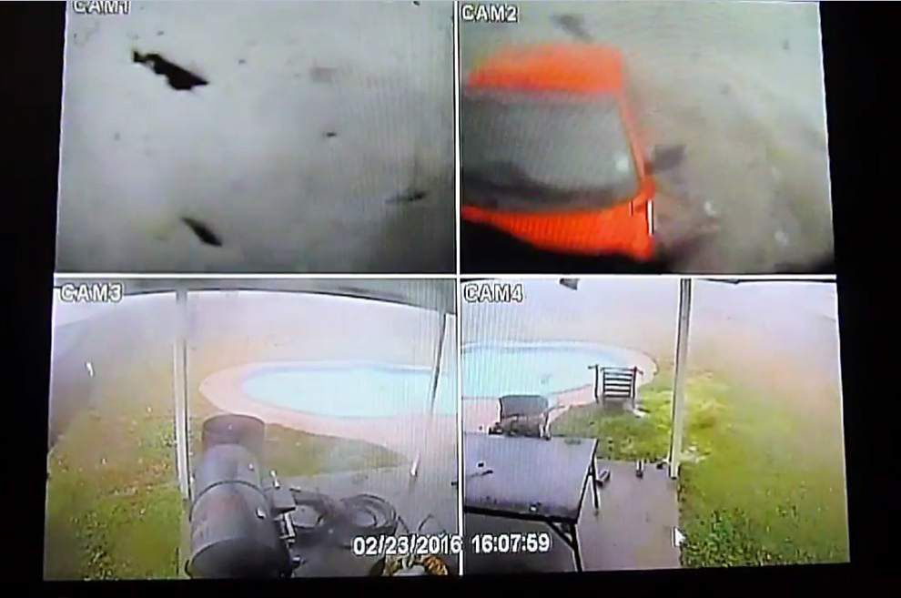 Video: Surveillance footage captures dramatic view of from inside LaPlace tornado _lowres