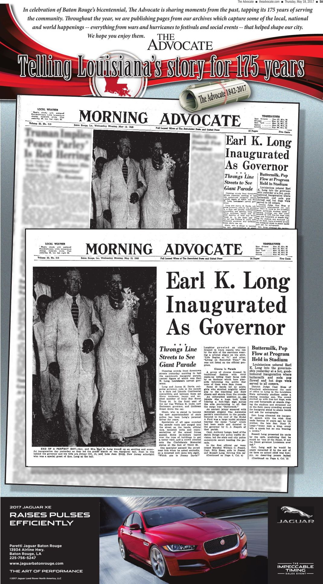Earl K Long Inaugurated