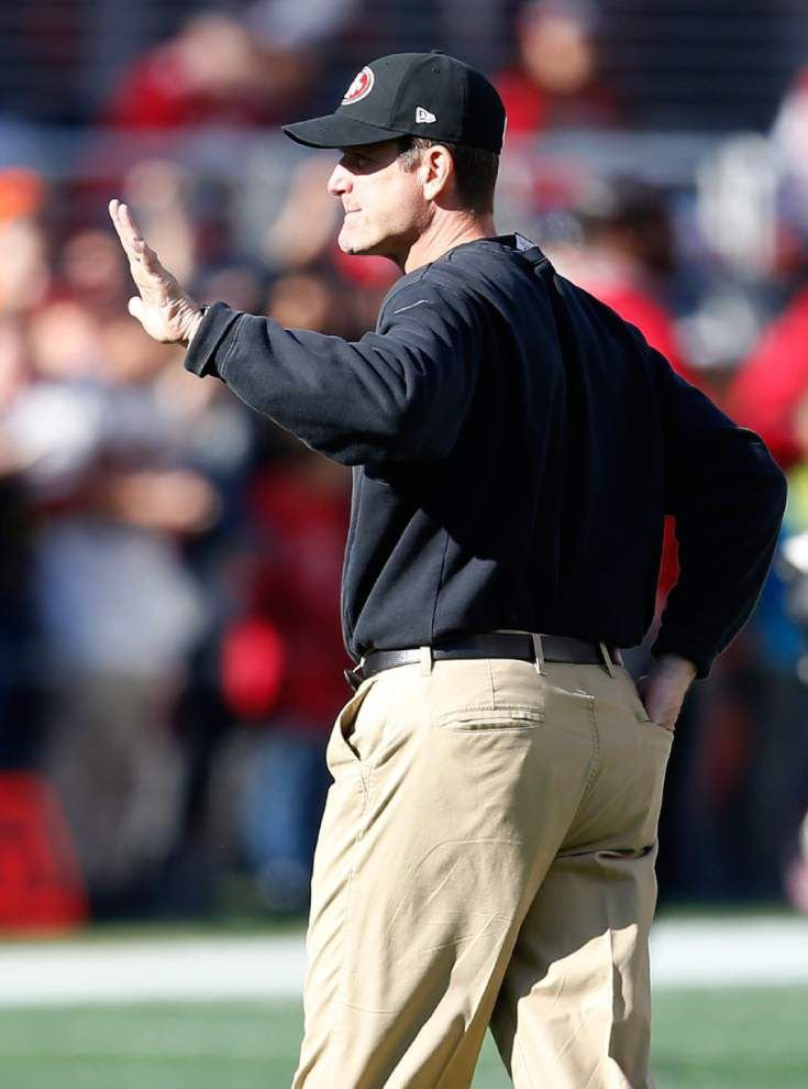 49ers coach Jim Harbaugh departs with win _lowres