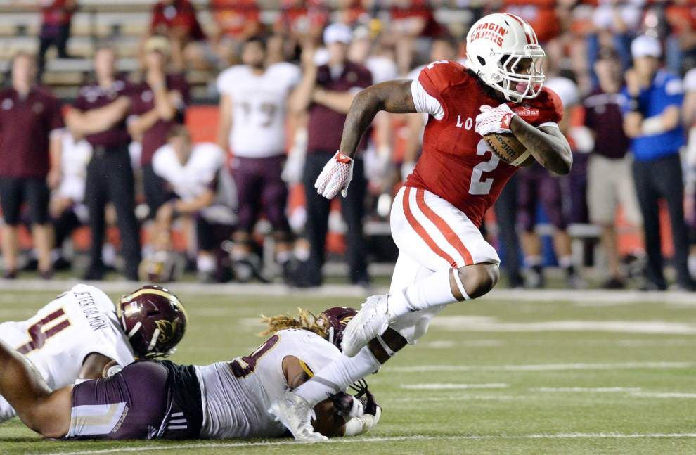 Ragin' Cajuns football team gets excited with physical plays — especially from offense _lowres