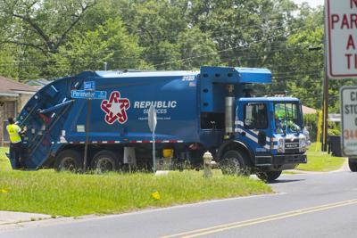 garbage truck stock trash