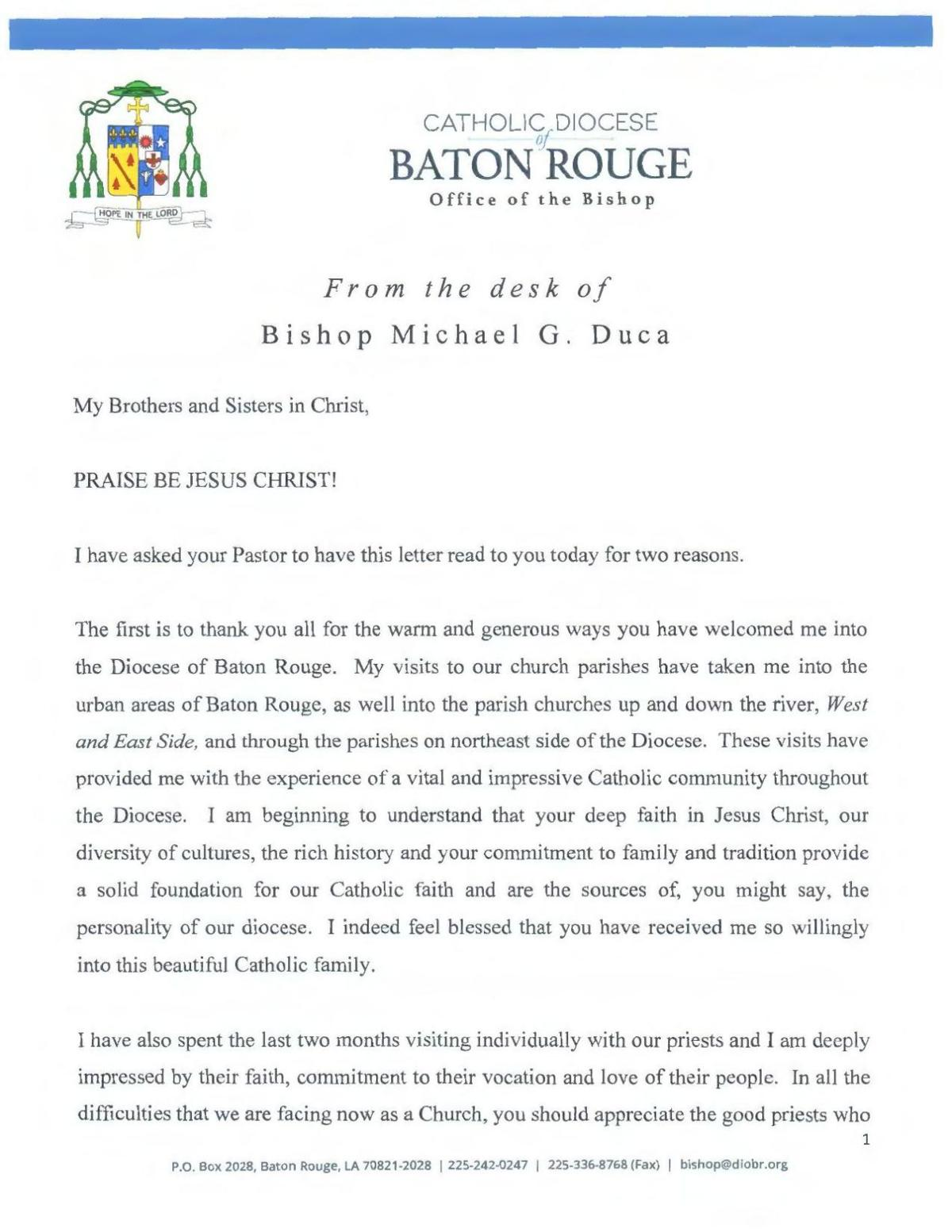 Bishop Duca's letter to the Diocese