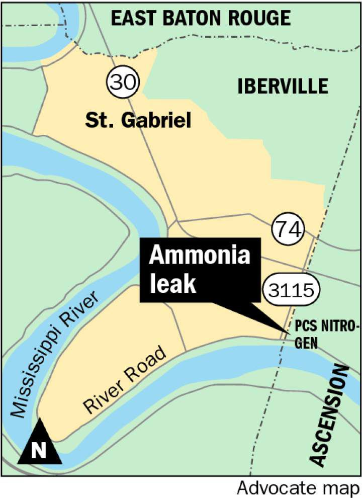 Officials investigate what caused ammonia leak at plant on Iberville-Ascension parish line _lowres