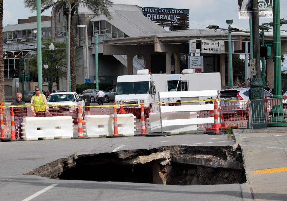 Landrieu asking City Council to hire emergency contractor to fix Canal Street sinkhole _lowres