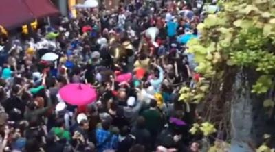 Video: Second-line parade marches through New Orleans' French Quarter to honor musician David Bowie _lowres