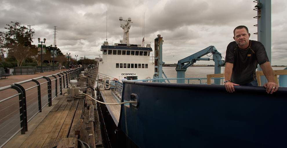 Shark research vessel docked in New Orleans; nonprofit studies migration and breeding patterns of the world's largest sharks _lowres