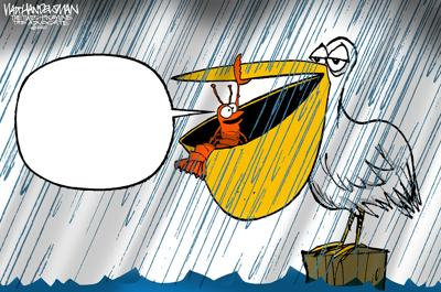 What did the crawfish say to the pelican? YOU tell us in Walt Handelsman's latest Cartoon Caption Contest!!