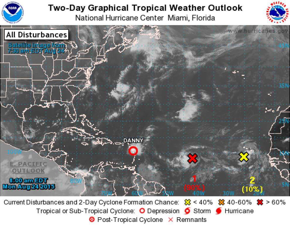 Danny fizzles into tropical depression, but wave of activity behind it catches forecasters' eyes _lowres