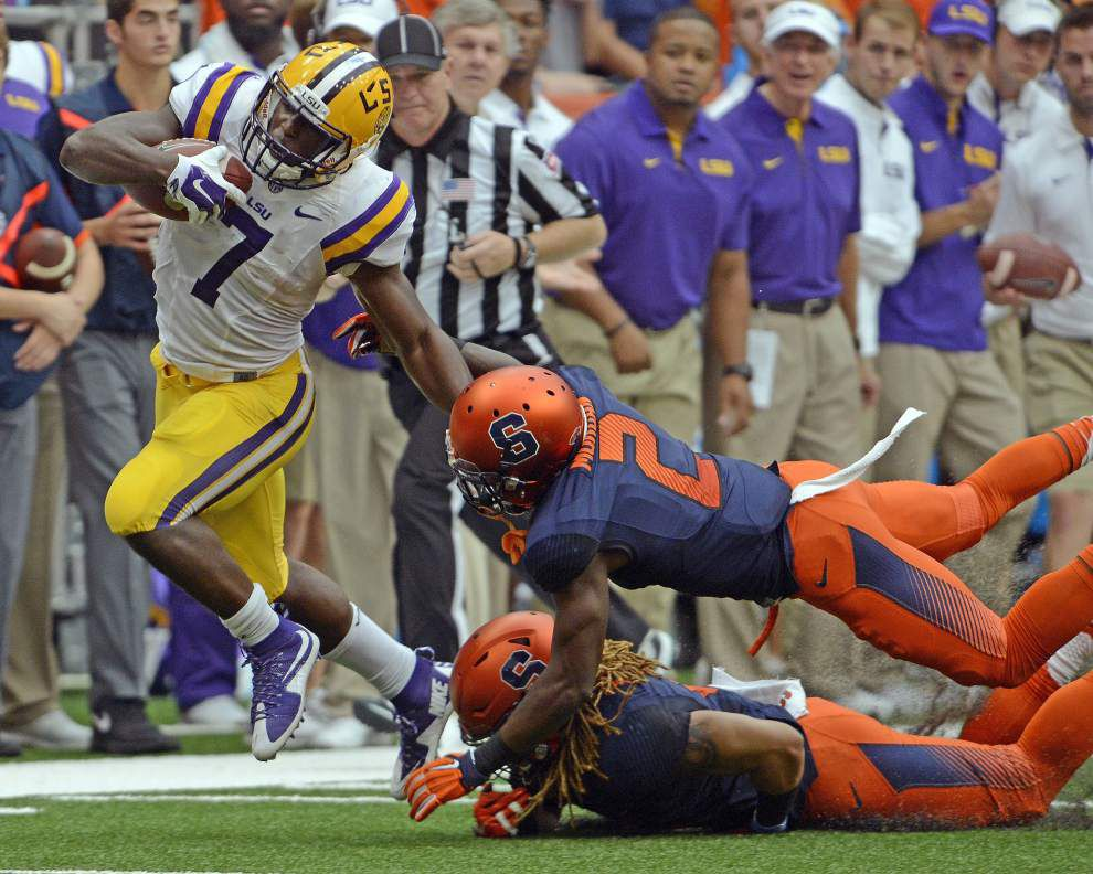 LSU players still raving over Brandon Harris' flip to Leonard Fournette in Syracuse win _lowres