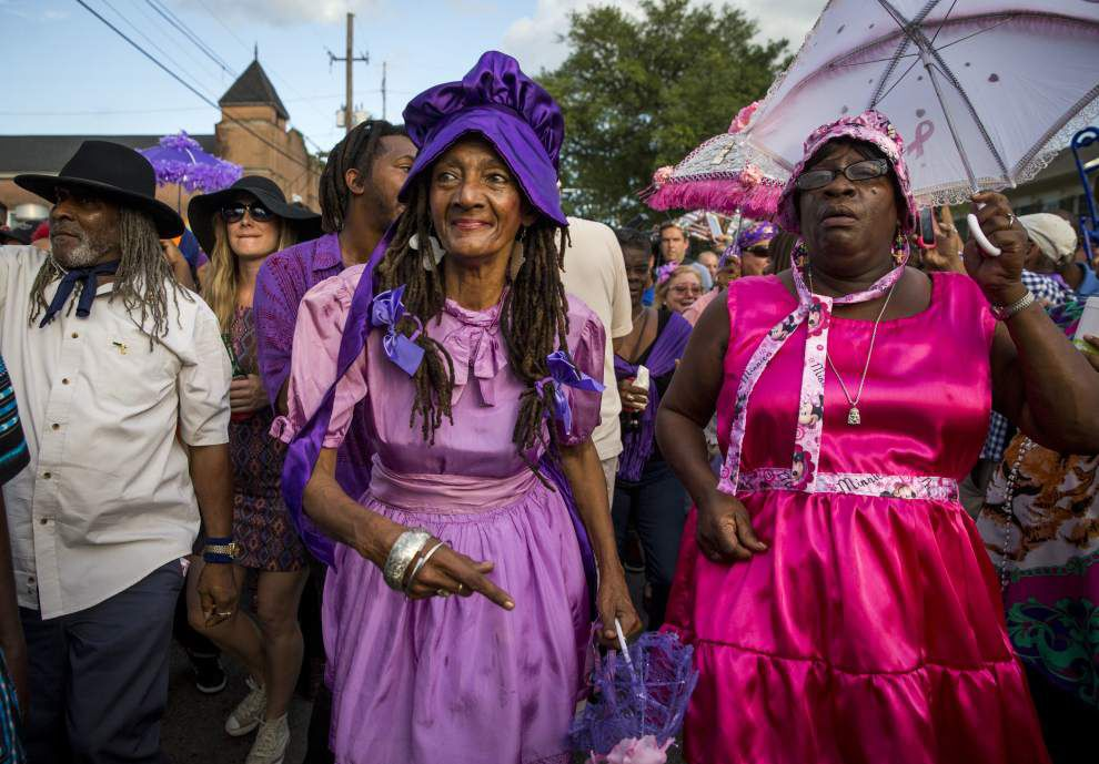 Photos, video: What a crowd! Purple-clad supporters turn out in droves for Prince second-line parade in New Orleans _lowres