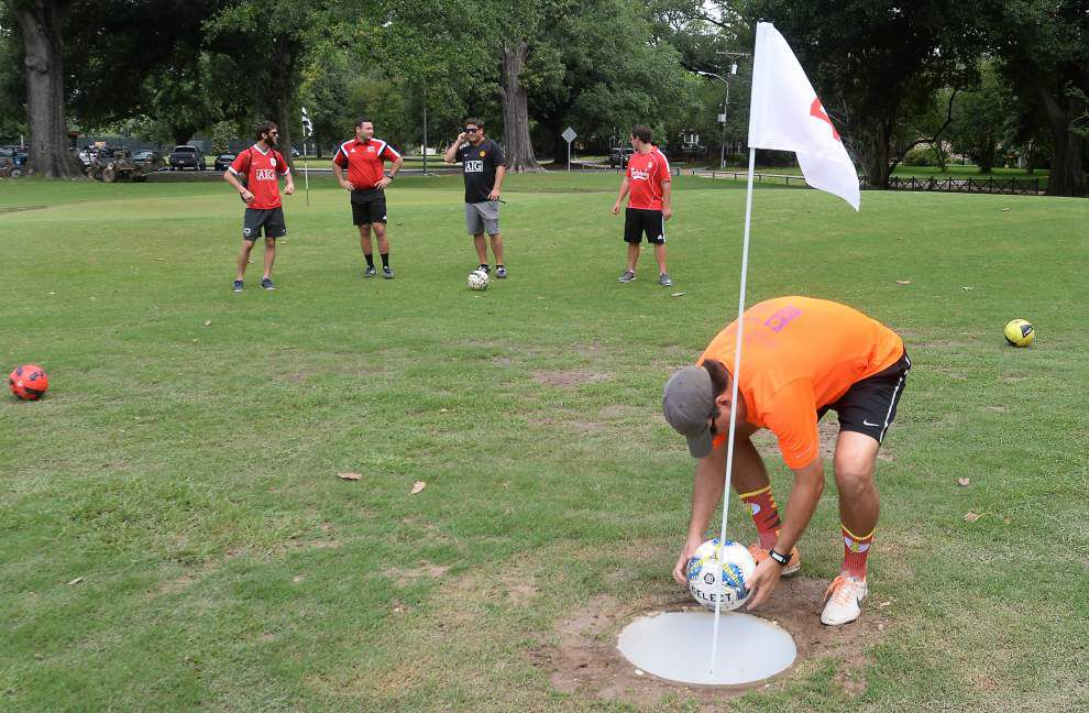 Not quite soccer, not quite golf: 'Footgolf' arrives at BREC's golf courses _lowres