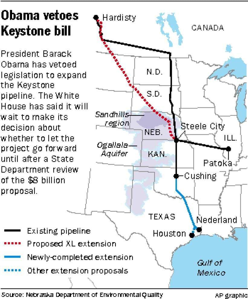 President Barack Obama vetoes Keystone pipeline bill _lowres