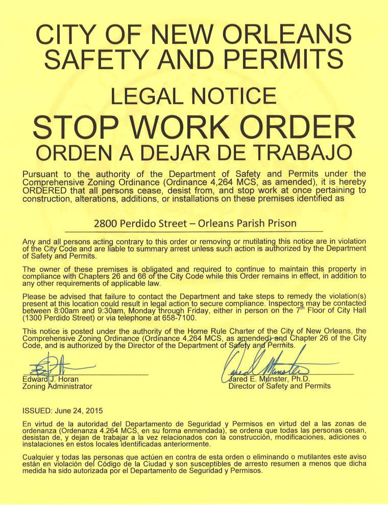 City issues stop-work order on new Orleans Parish Prison, citing 'flagrant violations' _lowres