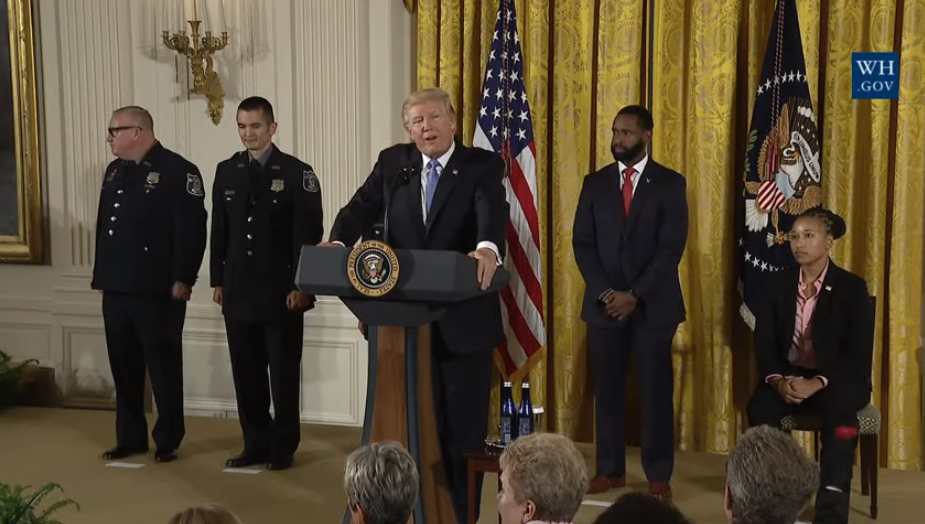 Trump and officers