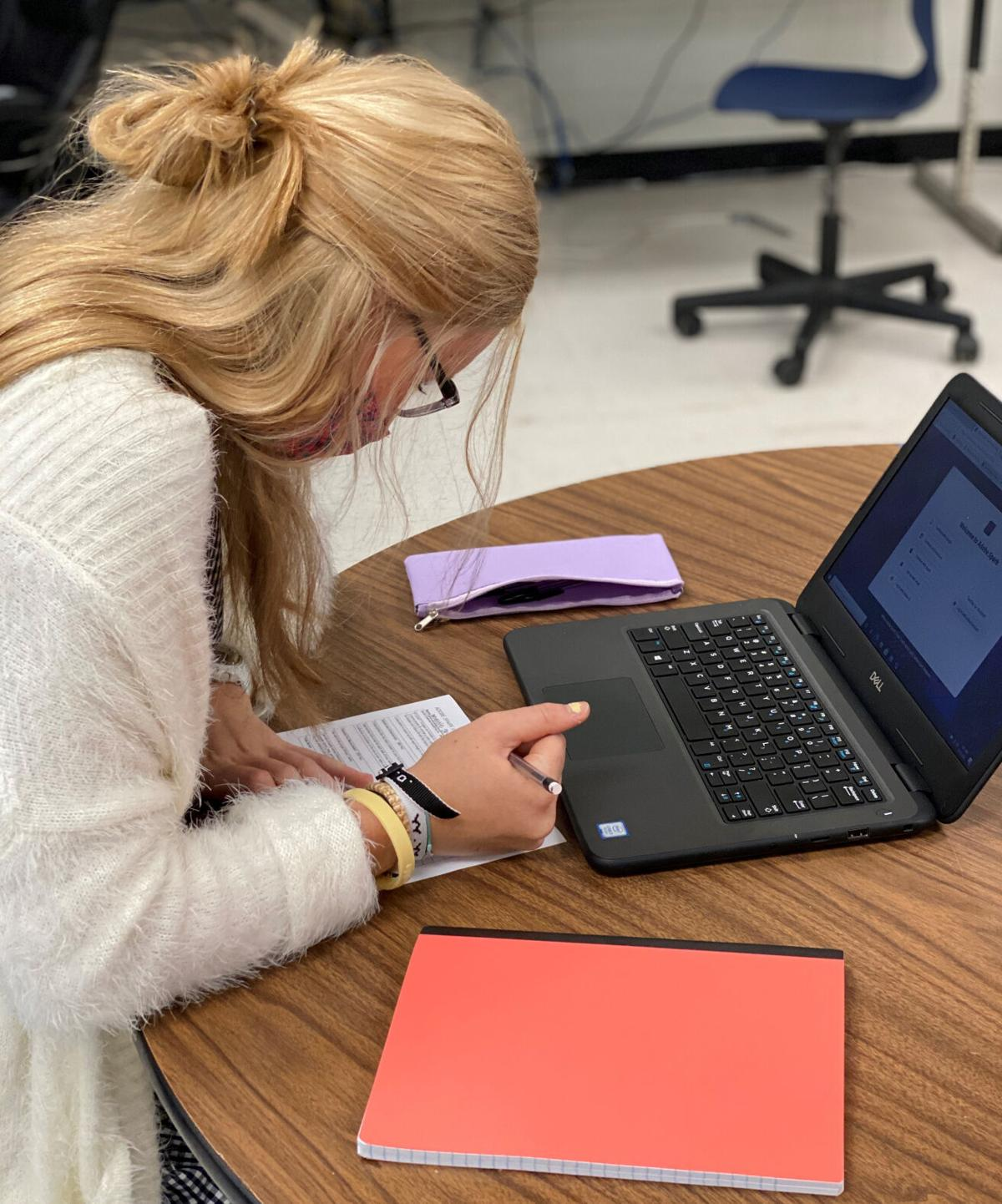 Mattie Reed works on an assignment for Ms. Lauren Howsen's.jpg