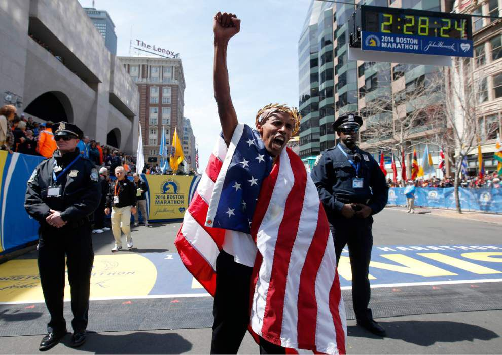 Meb Keflezighi claims emotional Boston Marathon _lowres
