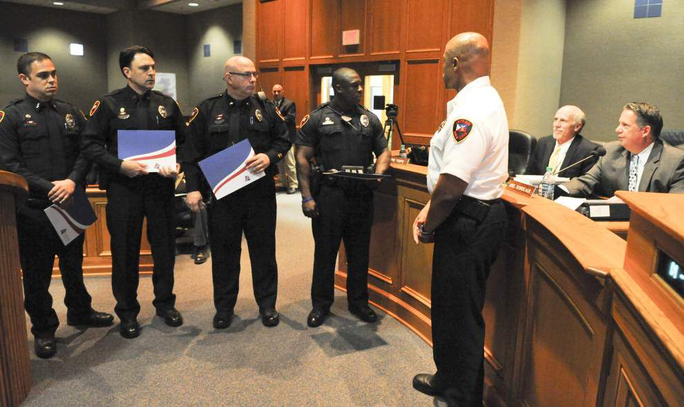 Lafayette officers honored Tuesday for their bravery in rushing toward the gunfire at the Grand 16 Theatre shootings _lowres