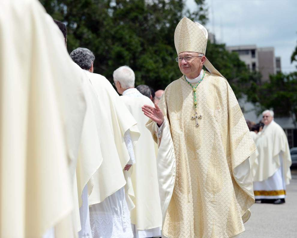 Hundreds crowd cathedral, nearby school, as John Deshotel installed as new Diocese of Lafayette bishop _lowres