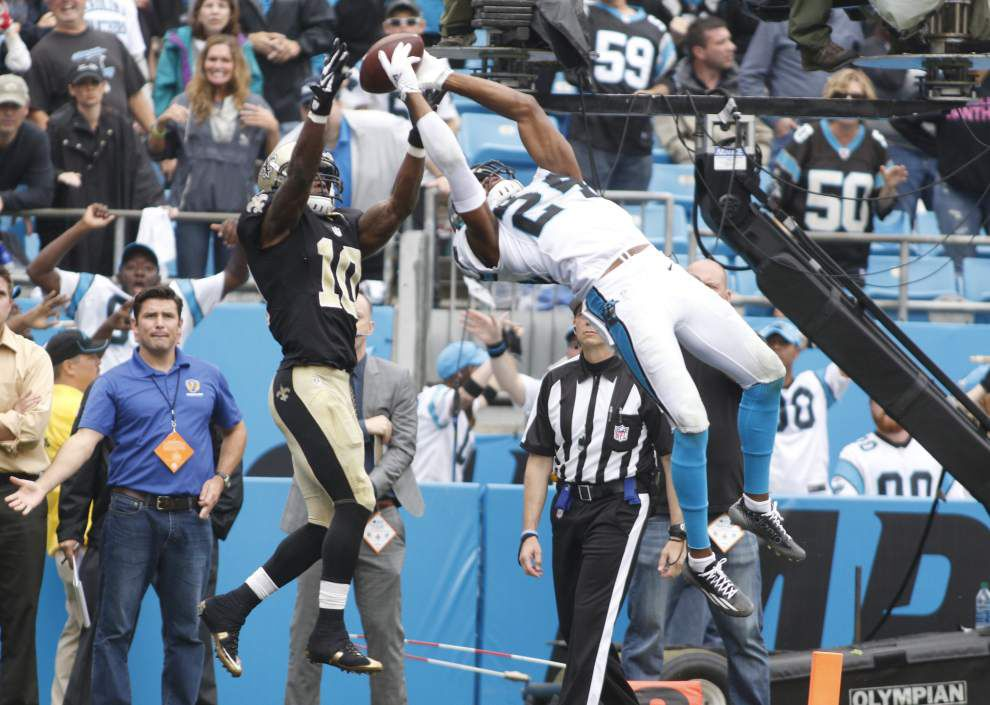 Photos: Drew Brees standing on the sidelines, back-up quarterback Luke McCown playing well, Saints losing late to Panthers to fall to 0-3 _lowres