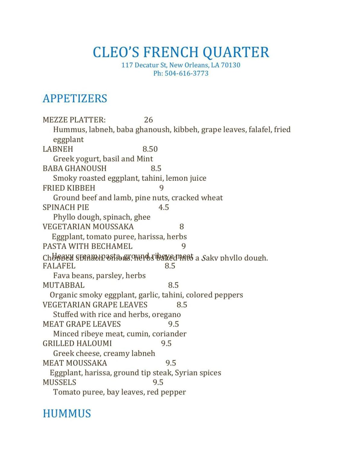 CLEO'S FRENCH QUARTER MENU