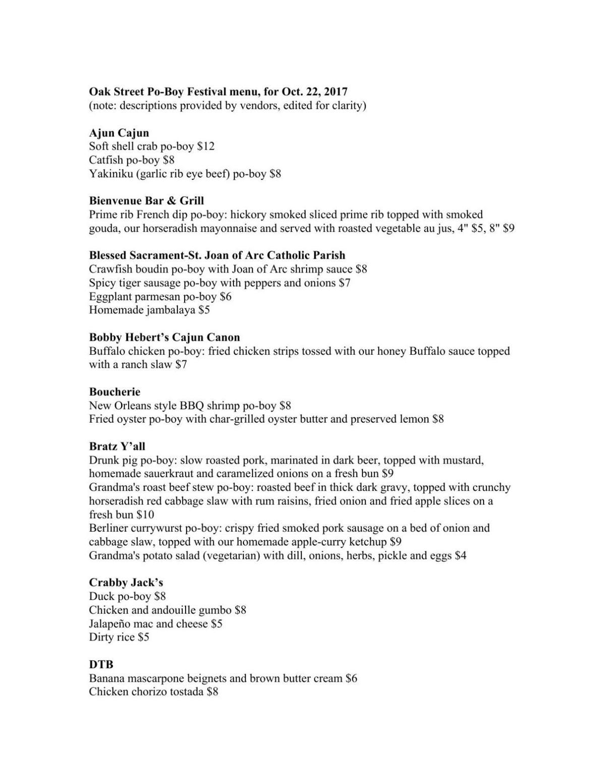 po-boy fest menu 2017