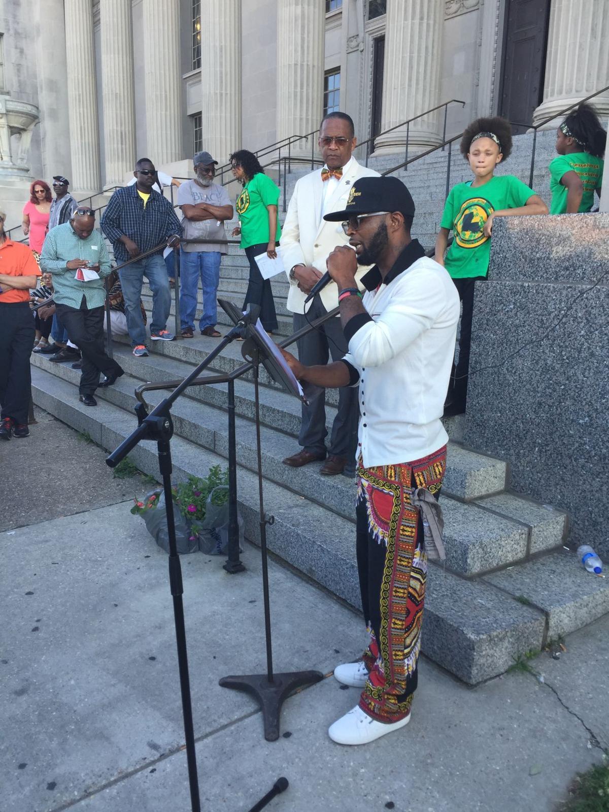 Jerome Morgan at DA protest