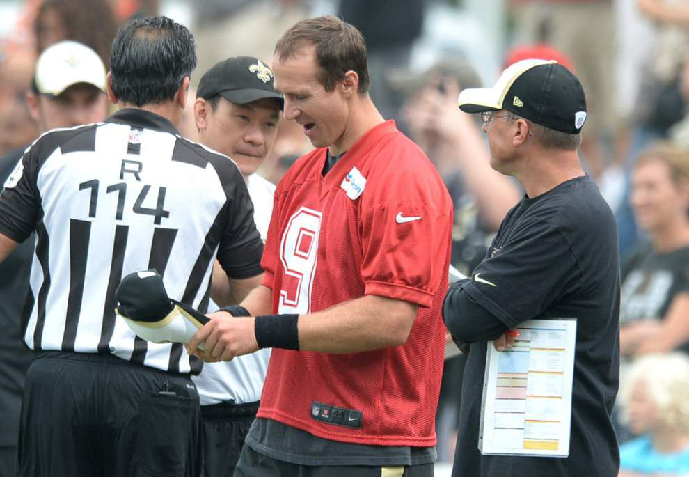 Brees misses Saturday scrimmage with a strained oblique muscle _lowres