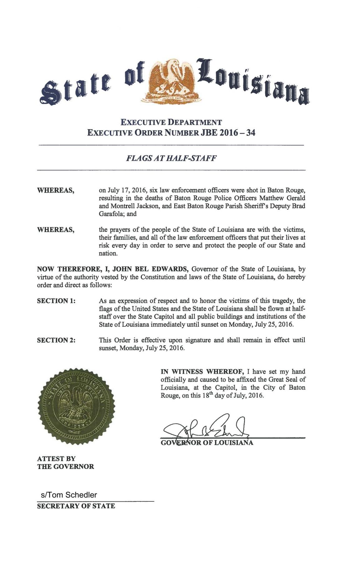 Gov. Edwards executive order: Flags at half staff