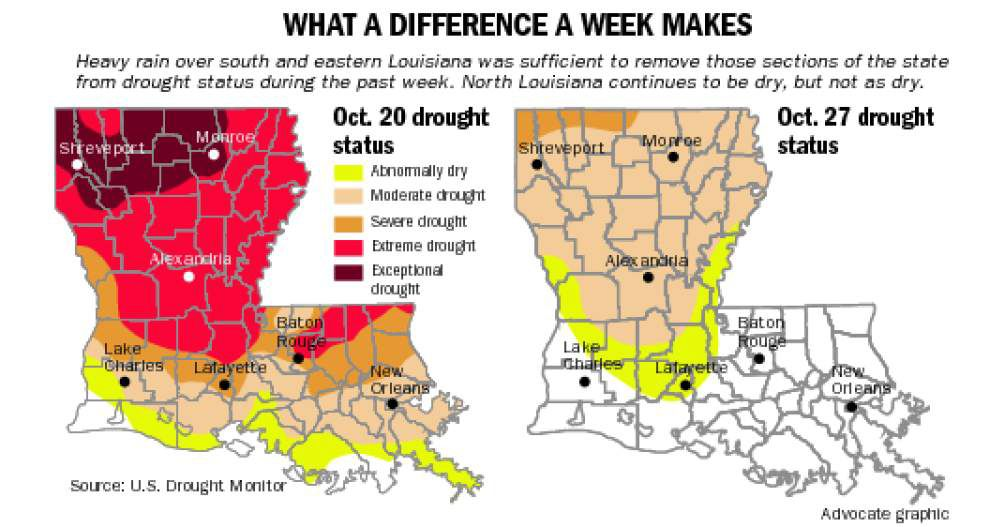 Heavy rain has eliminated drought conditions in south Louisiana, helped greatly in northern reaches of state _lowres