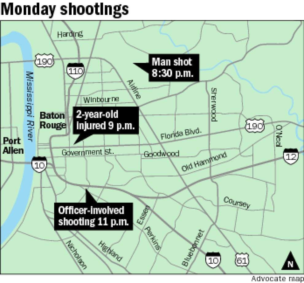 Baton Rouge Police shoot, wound two men in one of three shooting incidents Monday night _lowres