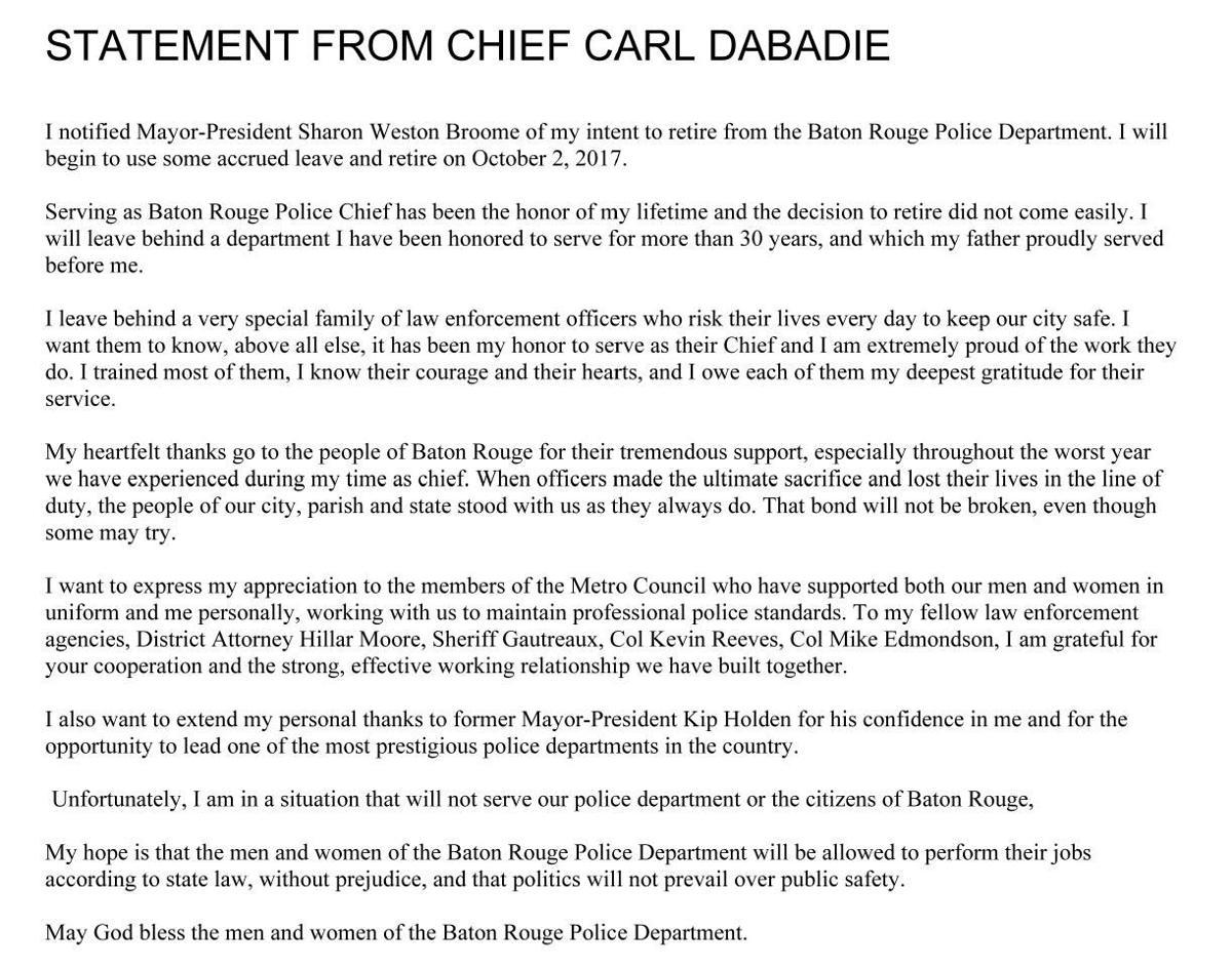 Statement from Carl Dabadie