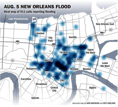 See heat map of 911 calls placed during Aug. 5 New Orleans flood ...