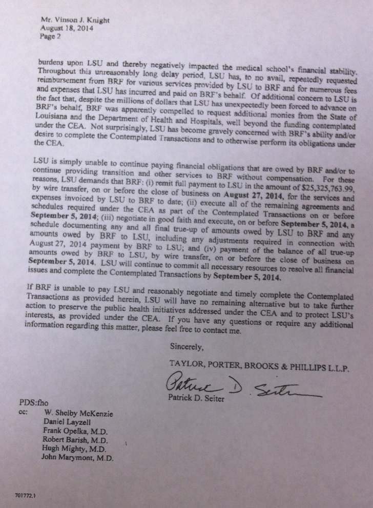 LSU sends collection letter to hospital manager _lowres