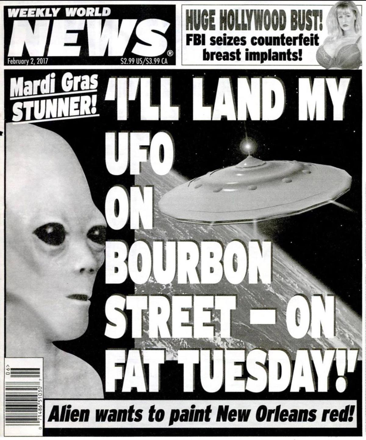 Report: Alien to land UFO on Bourbon Street on Fat Tuesday_lowres