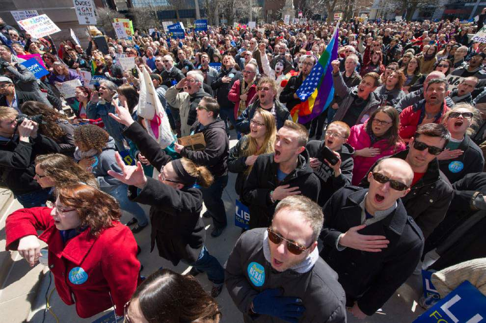 Groups studying Louisiana's religious freedom act want to match Indiana version sparking intense gay rights protests _lowres