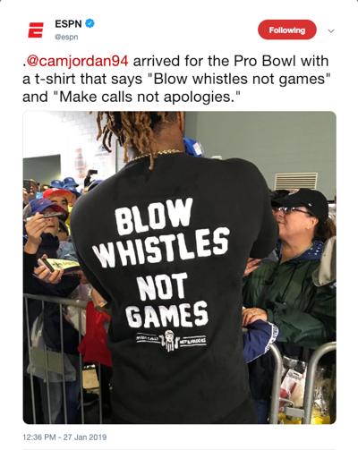44c03176cd18 no.camjordantshirt.adv. ESPN s tweet shows New Orleans Saints defensive end  Cameron Jordan arriving to the NFL Pro Bowl wearing a shirt ...