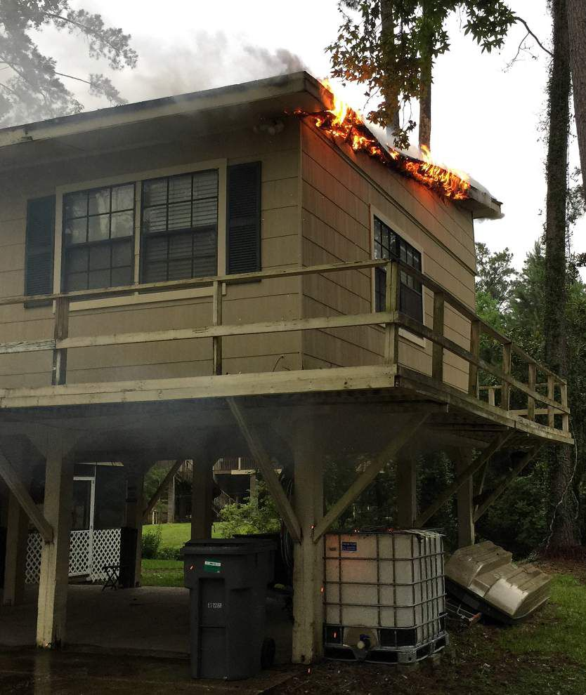 Lightning strikes house, starts fire near Covington during storms Tuesday morning _lowres