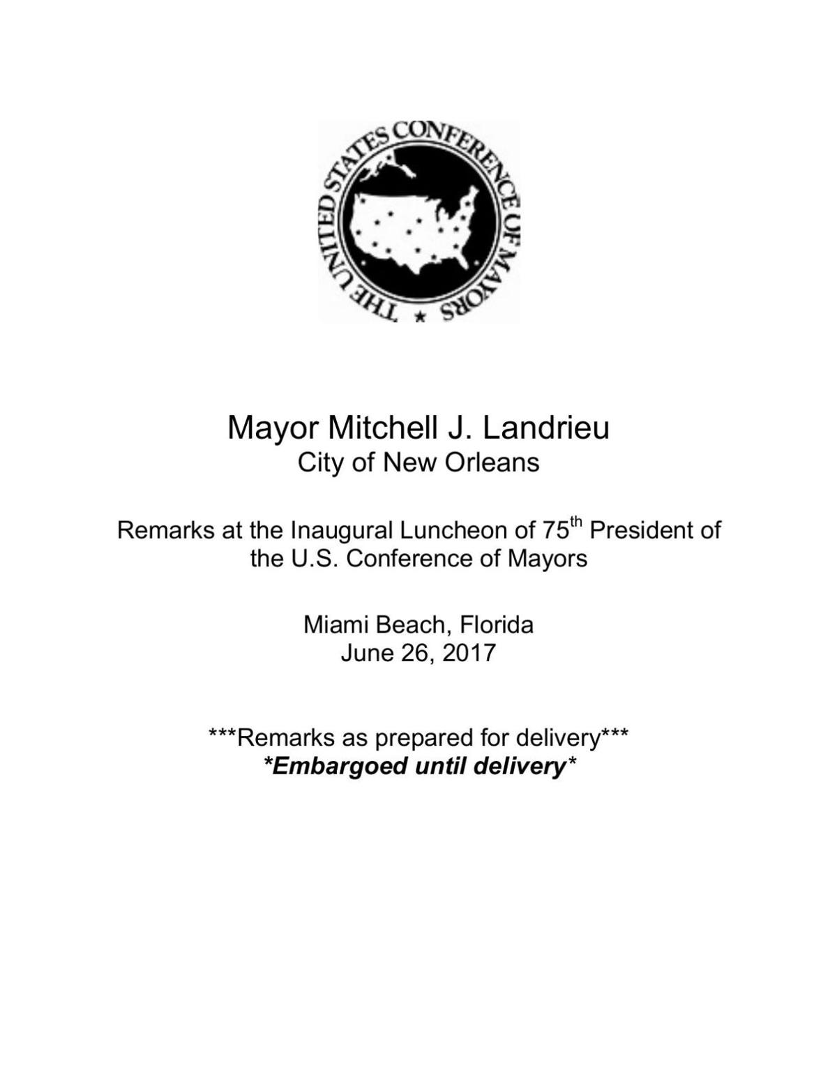 Mitch Landrieu's full speech at U.S. mayors conference