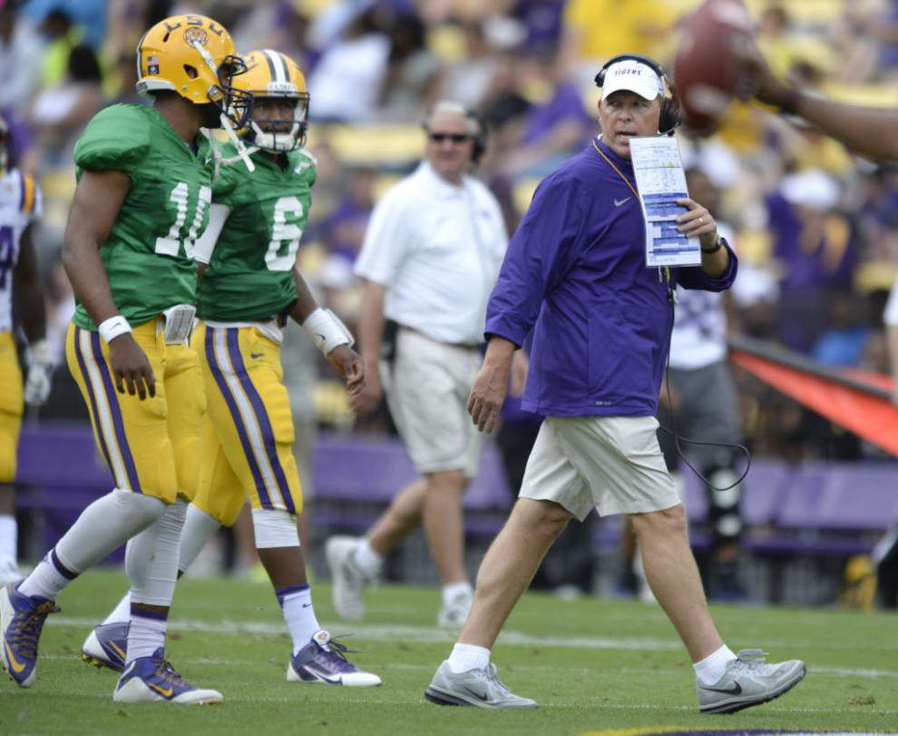 Cam Cameron wants Anthony Jennings, Brandon Harris to force Les Miles to make a difficult decision at starting quarterback _lowres