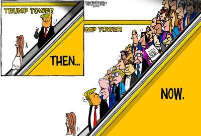 Walt Handelsman: Trump Escalator Update.