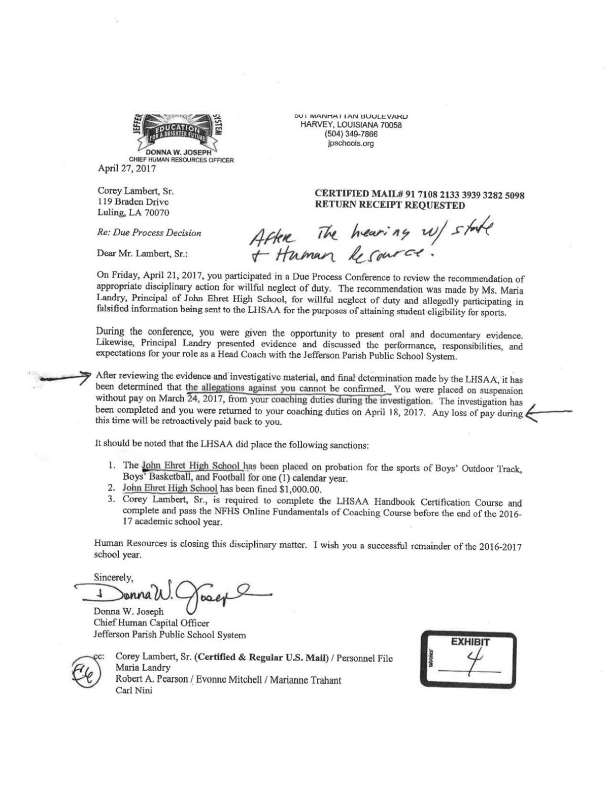 Ousted ehret football coach corey lambert plans to fight for his job download pdf john ehrets corey lambert srs due process decision fandeluxe Images