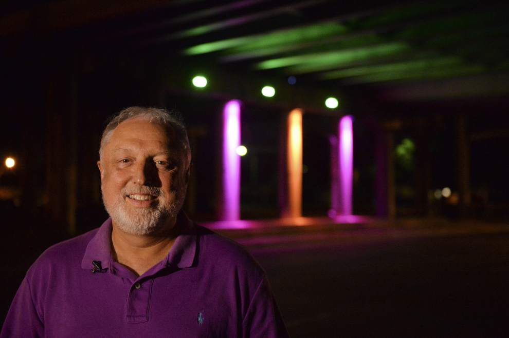 Company demonstrates lighting under downtown Baton Rouge overpass _lowres