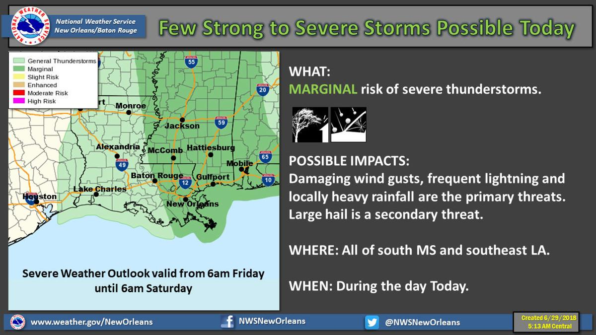 Marginal' risk of severe weather, excessive rain in south