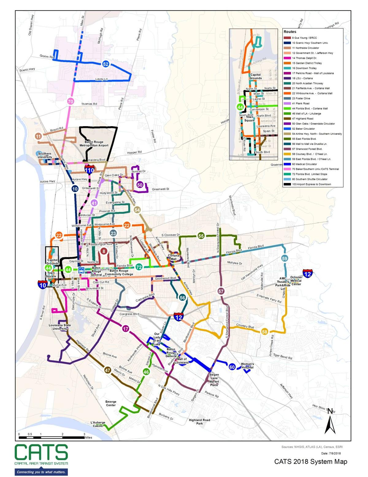 CATS routes prior to service changes